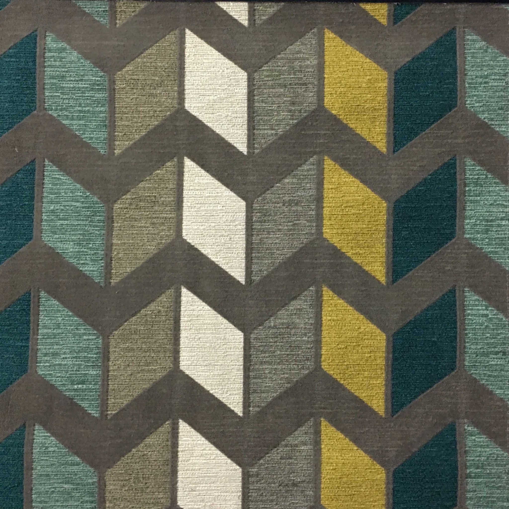 Ziba Modern Texture Chevron Pattern Cotton Polyester Blend