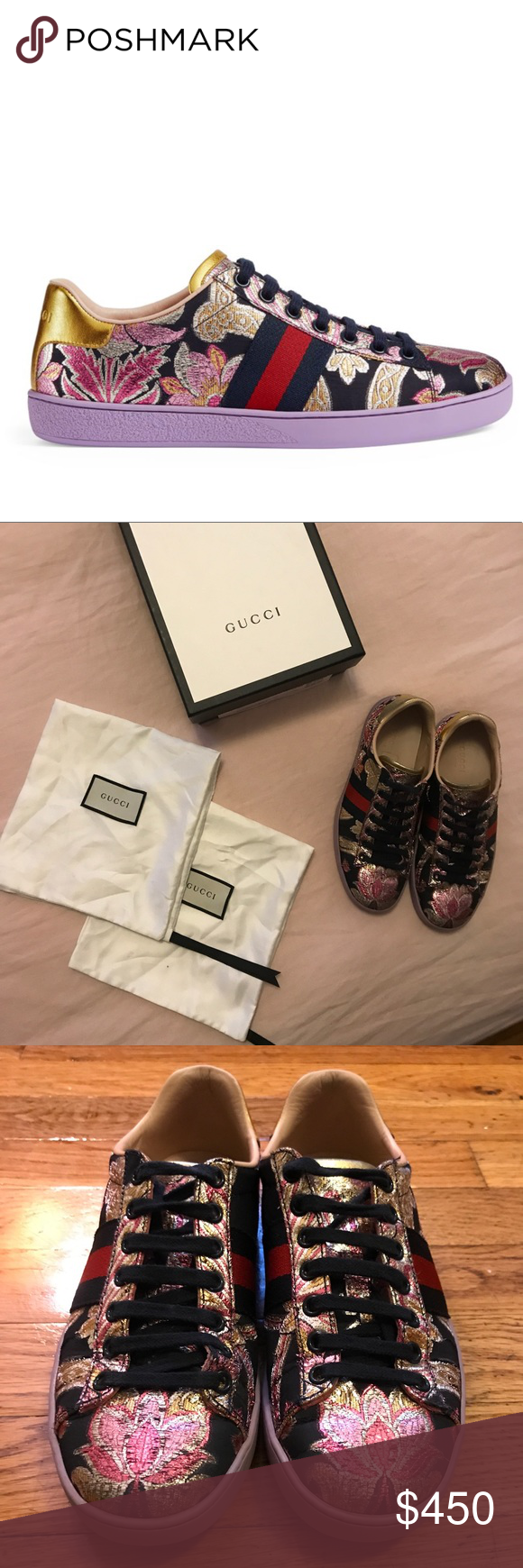 34844ff420c Gucci New Ace Brocade Lace Up Sneakers Fits true to size Multicolor brocade  and metallic gold leather low top lace up sneaker Round toe Blue and red ...
