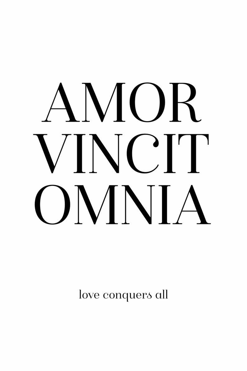 Amor Vincit Omnia Love Conquers All Bedroom Decor Instant