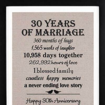 Ebay Link 30th Anniversary Love Birds Burlap Print With Frame 30th Weddin 40th Wedding Anniversary Gifts 40th Anniversary Gifts Anniversary Gifts For Couples