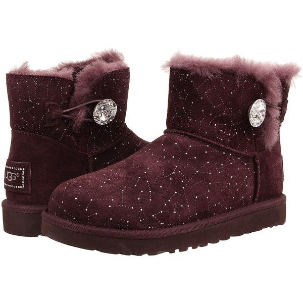 UGG Mini Bailey Button Bling Constellation (Lodge Suede) Women's Boots  ($126) ❤