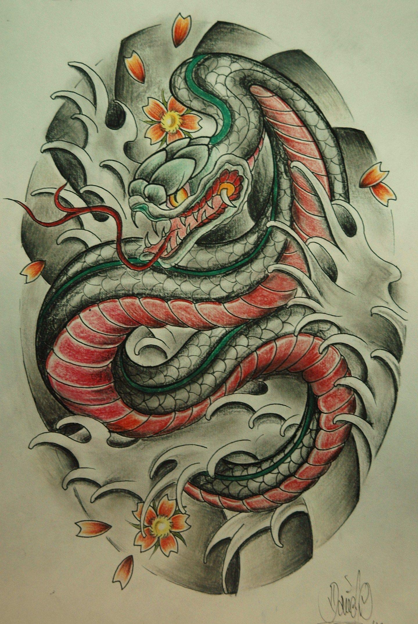 japanese snake Tattoo ideas Snake sketch, Japanese