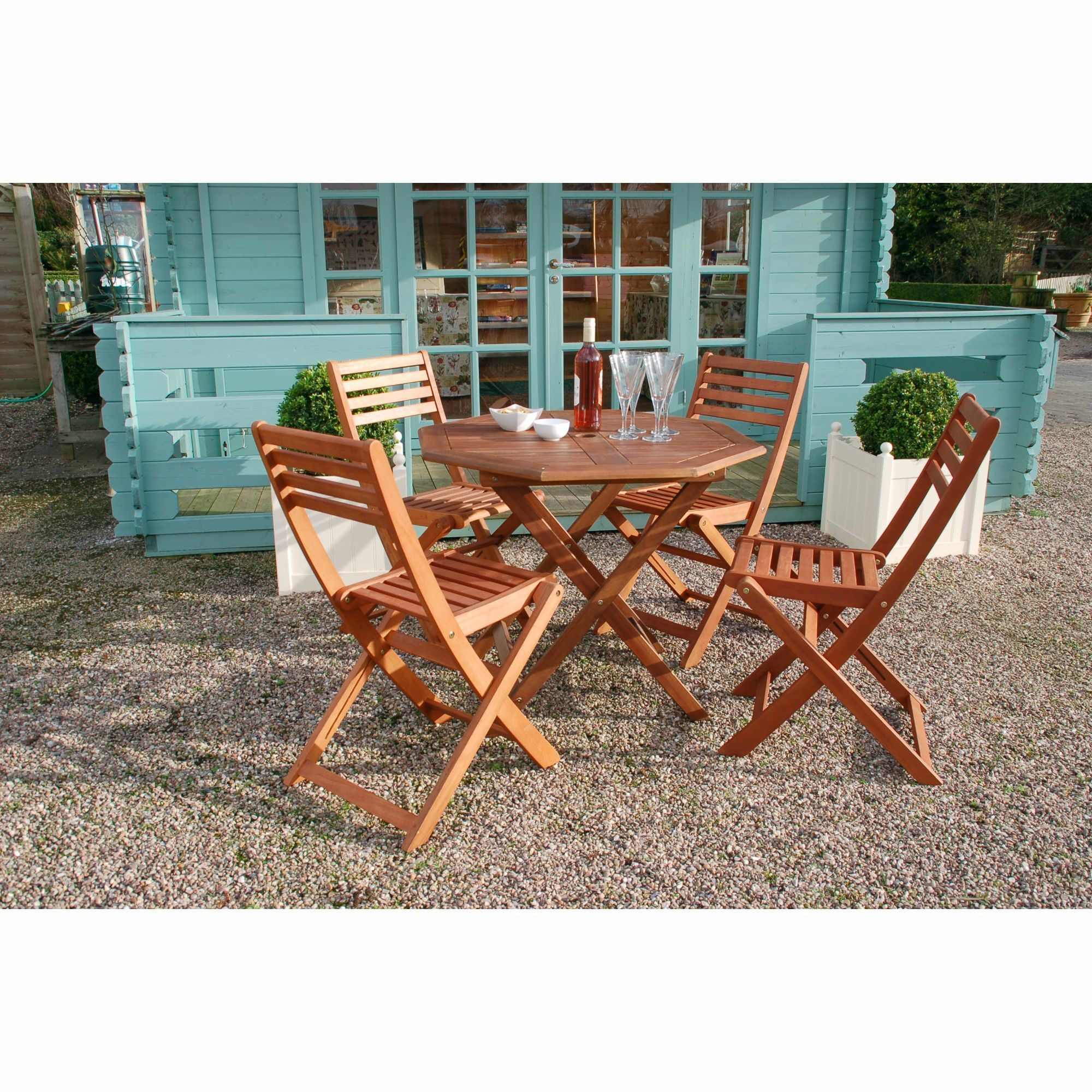 Wooden Garden Furniture Folding Patio Table And Chairs 4 Seat ...