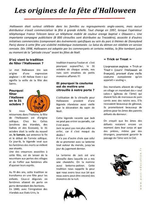 Halloween Les Origines Lecture Comprehension Cycle 3 Ce2 Cm1 Cm2 Halloween Ecole Primaire Halloween Halloween Primaire