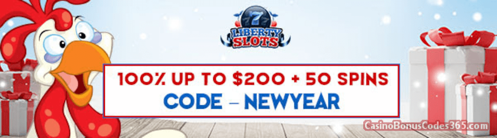 Liberty Slots 100% Match Bonus up to $200 Bonus plus 50 FREE Funky Chicken Spins Special New Players Deal