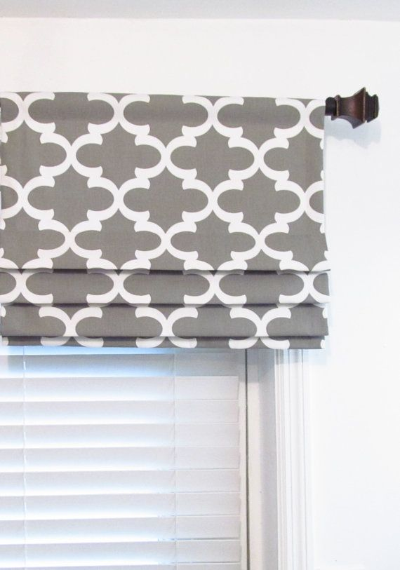 Gray and White Geometric Faux Roman Shade This listing is for one