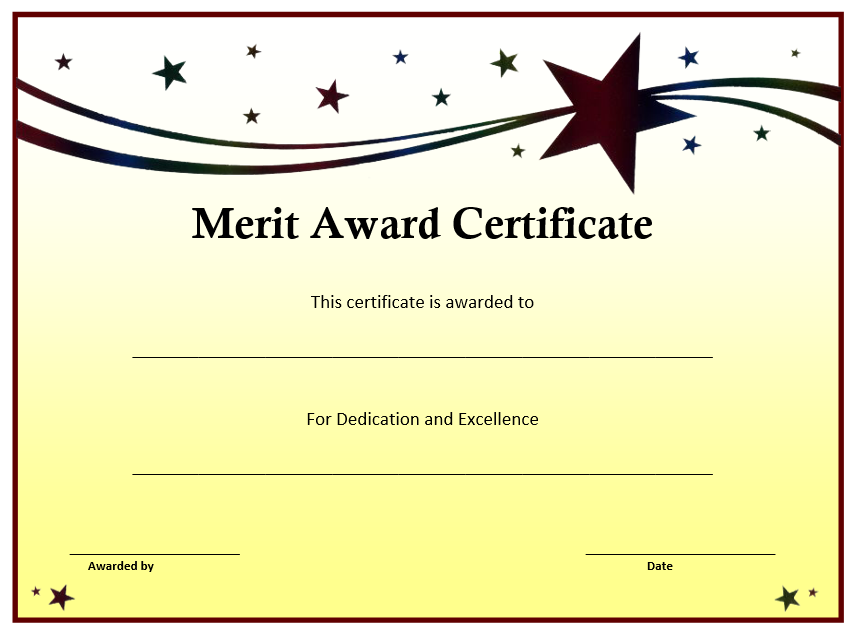 10 Certificate Of Merit Templates Free Printable Word Pdf