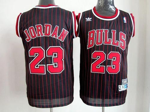 573faf18e56 Bulls #23 Michael Jordan Black With Red Strip Throwback Stitched NBA Jersey