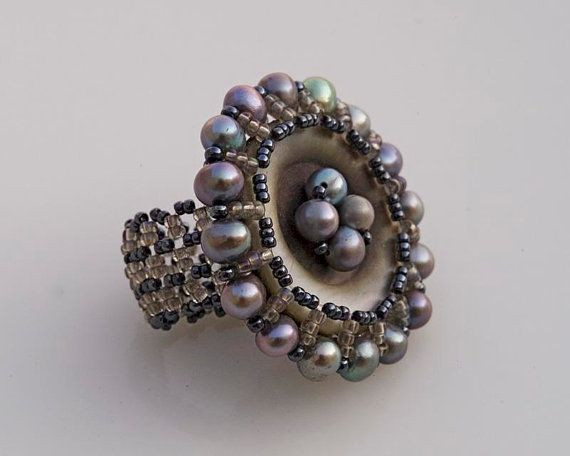 Vintage button cocktail ring grey mother of pearl by FleurDeIrk, $54.00