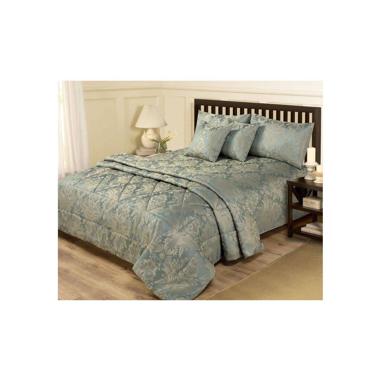 6 PIECE JACQUARD BLUE & GOLD BEDDING DOUBLE DUVET SET & BEDSPREAD