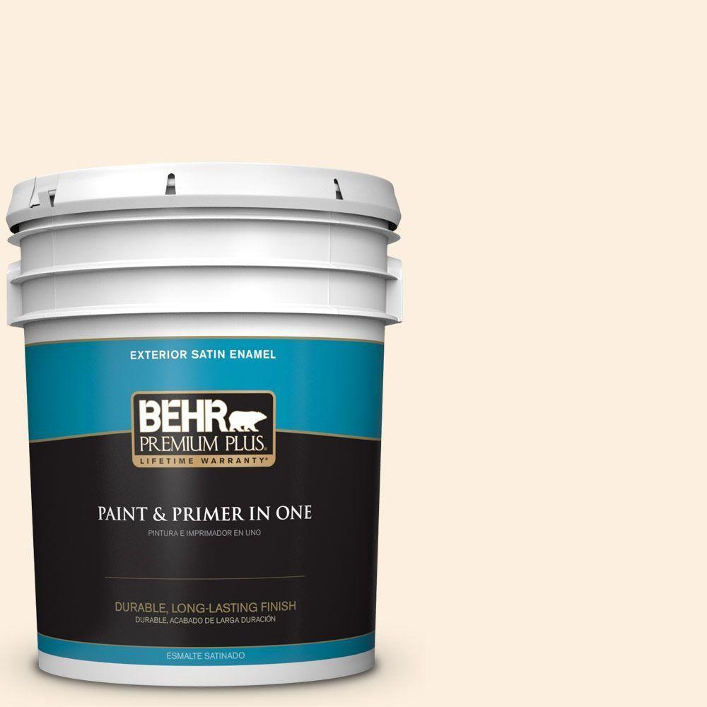 BEHR Premium Plus 5-gal. #P230-1 White Grapefruit Satin Enamel Exterior Paint