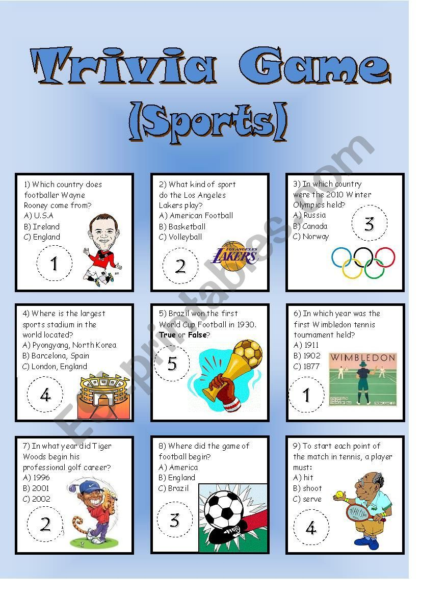 My second trivia card game, this time about sports. Comes ...