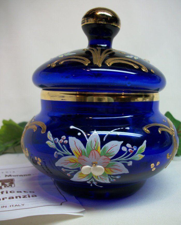 Vecchia Murano Italy Cobalt Blue Glass Sugar Bowl Jar W Lid 24kt Gold Gorgeous Murano Art