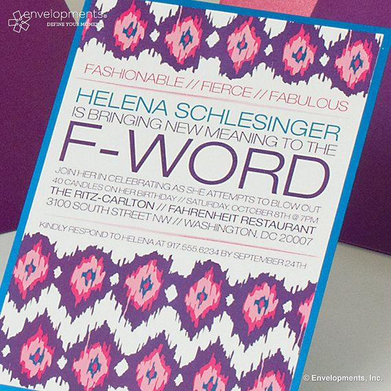 F-Word Invitation Fashionable Fierce Fabulous by SuitePaperToo - how to word a birthday invitation