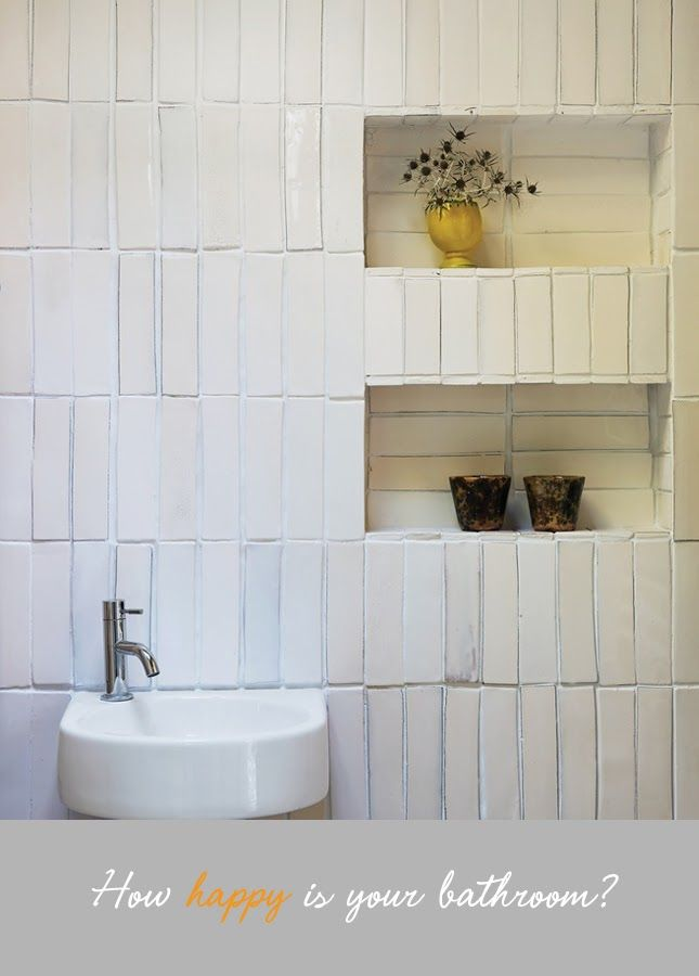 Handmade Tile Laid In Vertical Stacked Pattern Gorgeous Bathroom