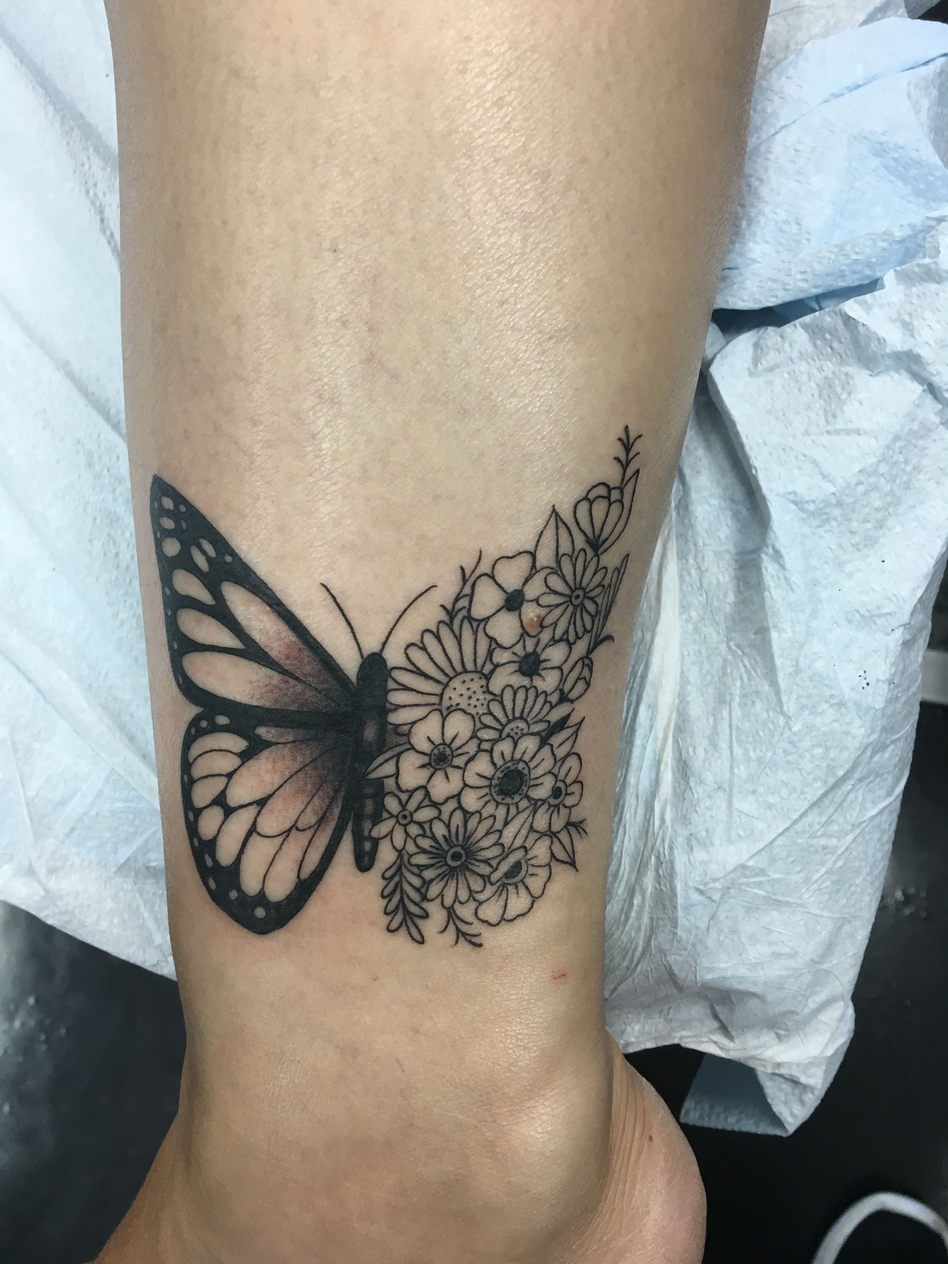 Love My New Butterfly Flower Tattoo Looks Perfect On My Ankle Cute Ankle Tattoos Butterfly With Flowers Tattoo Butterfly Tattoo