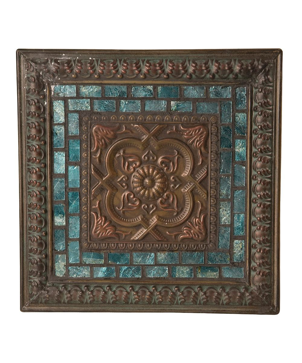 Vintage Inspired Home Accents Aqua Amp Brown Wall Plaque