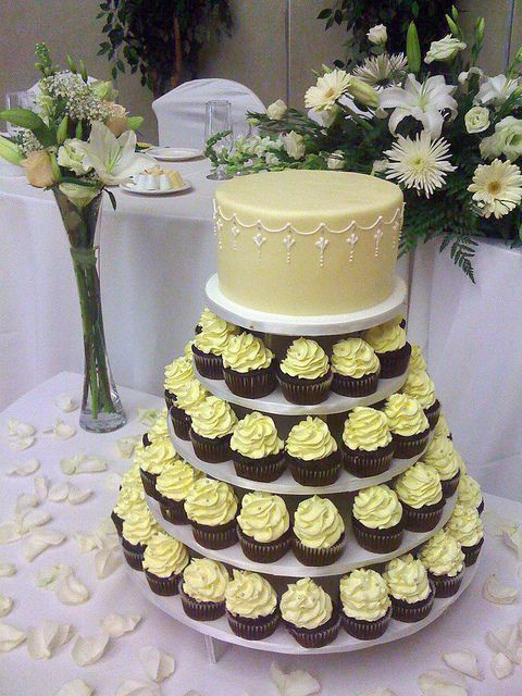 W9002 - yellow cupcake tower | Small cake, Cake and Wedding cake