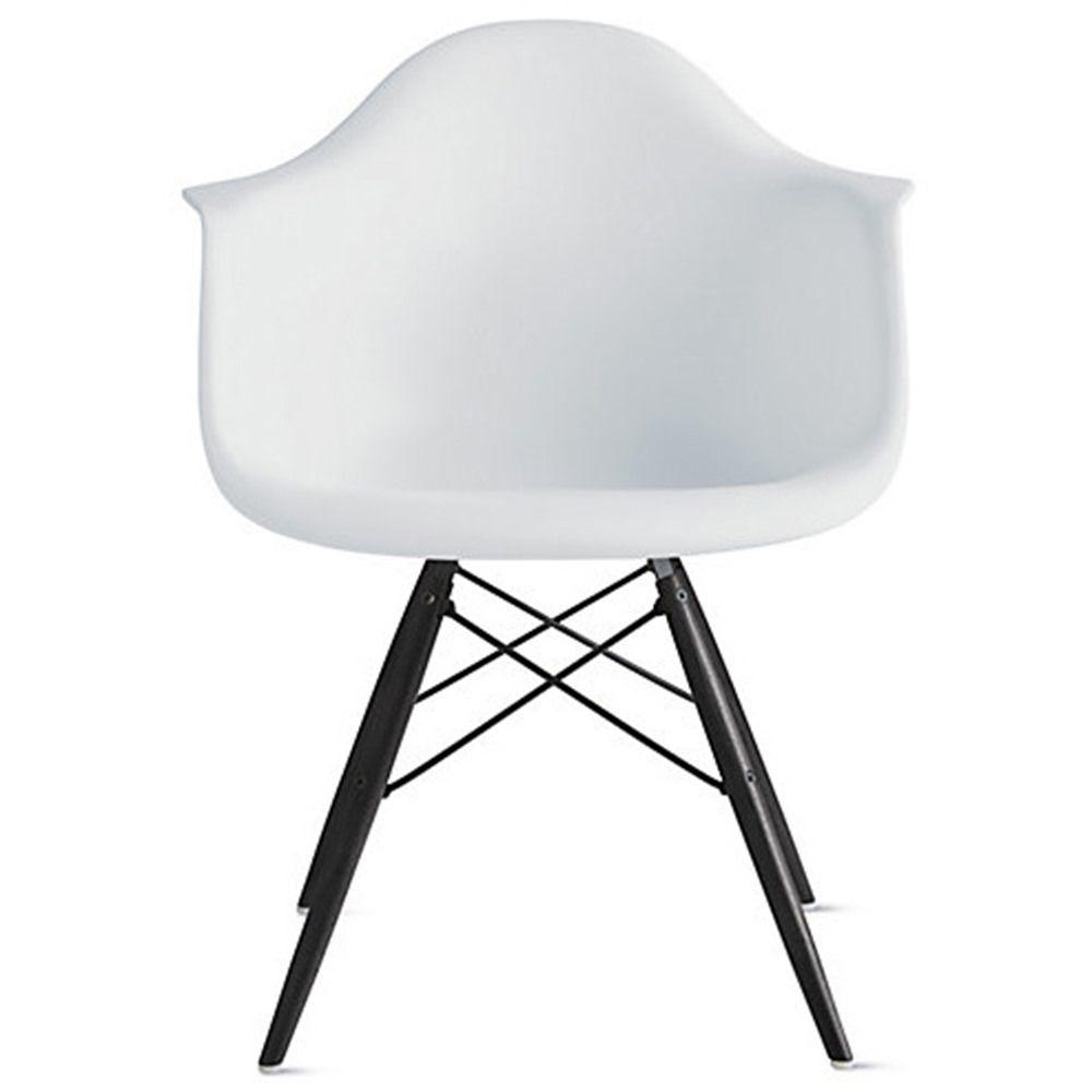 2xhome white eames style armchair black wood legs
