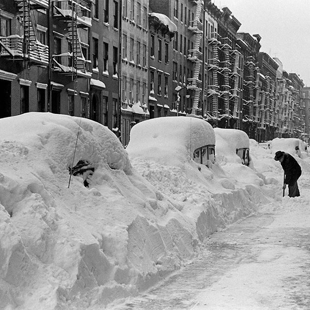On December 26, 1947, 68 years ago today, the great blizzard of 1947 in New York City occurred - dumping more than 25 inches of snow in less than 24 hours. Here is a scene of a resident digging out. (Al Fenn—The LIFE Picture Collection/Getty Images) #winter