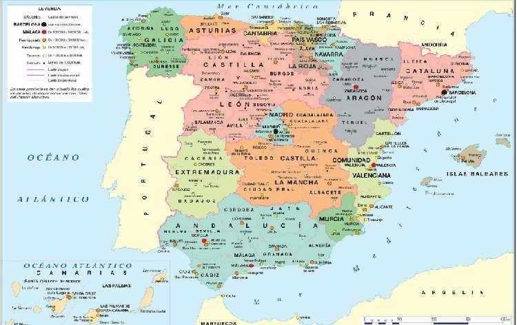 Resultado De Imagen Para Mapa De Espana Provincias Y Pueblos