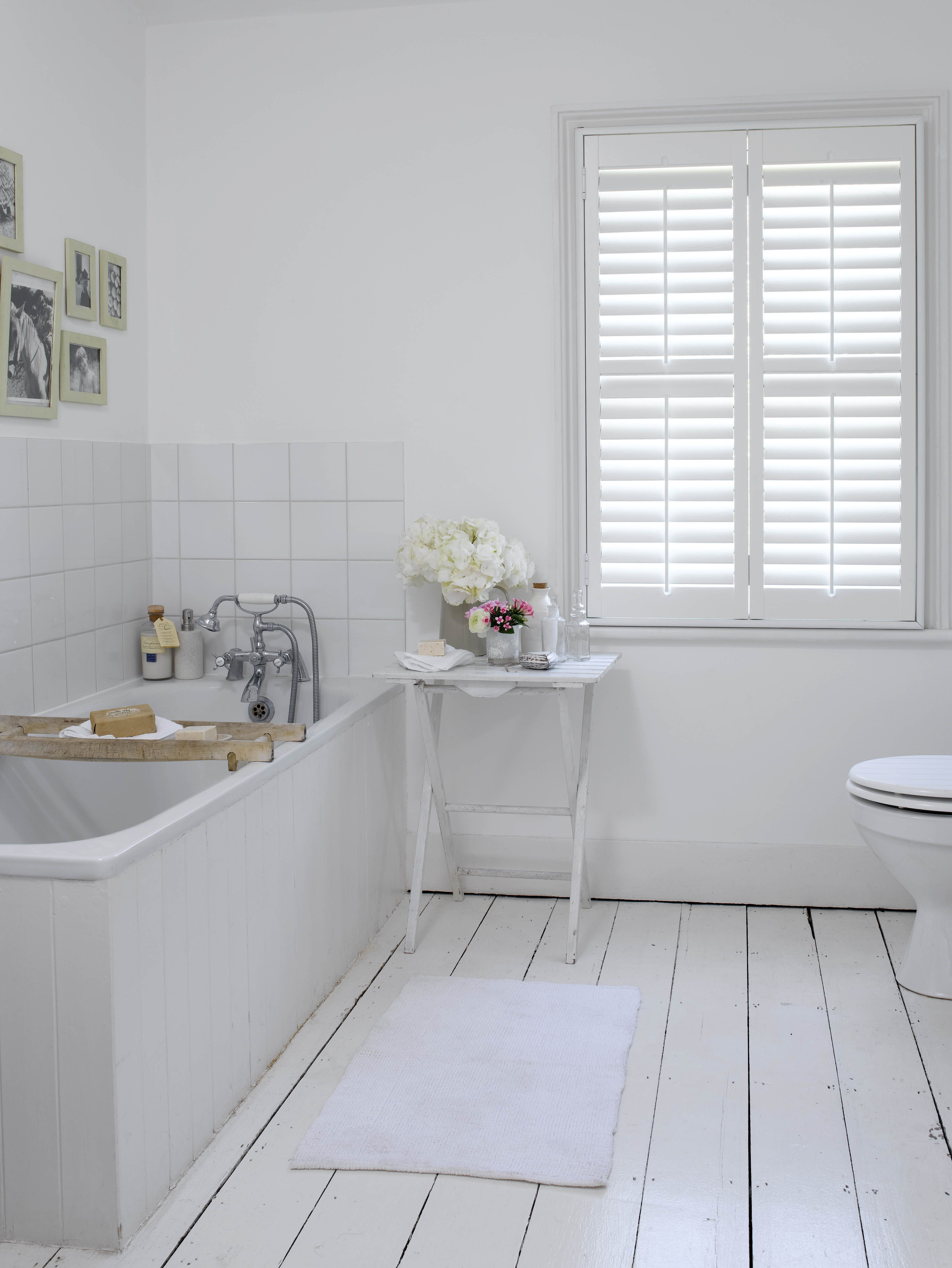 Full Height Elm Wood Shutters In Cloudy White Paint Finish With 2 5 Inch 64mm Slats And Regul Wood Floor Bathroom White Painted Wood Floors Bathroom Flooring