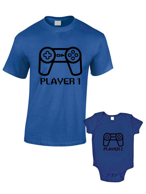 Player 1 Player 2 T-Shirts or Baby Grow - Matching Father Child Gift Set (2 shirts) - Father's Day Present Mum Son Daughter Dad Play Station...