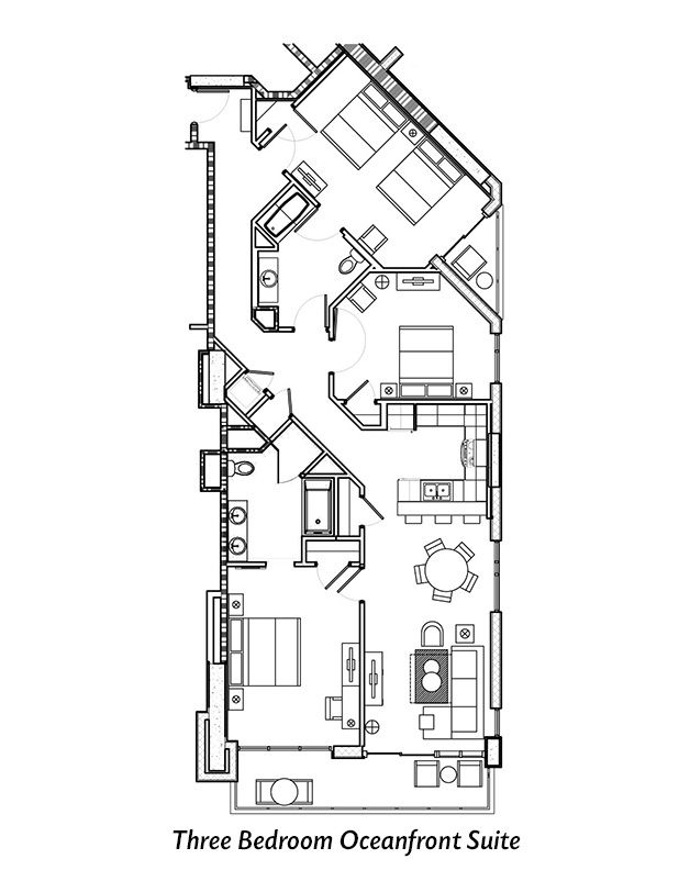 Three Bedroom Oceanfront Suite Floor Plan For Ocean 22 By Hilton