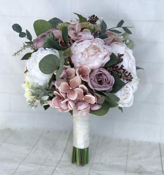 Hochzeitsstrauß, Staub Rose Brautstrauß, Kaskade Bouquet, erröten Hochzeitsstrauß, Mauve/Dusty Rose Hochzeitsblumen, Seide Brautstrauß