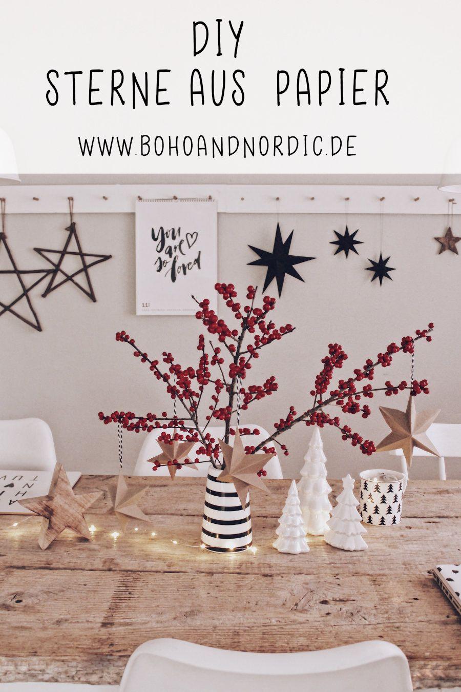 weihnachtsdeko sterne aus papier dekoration selber machen diy basteln einfach pinterest. Black Bedroom Furniture Sets. Home Design Ideas