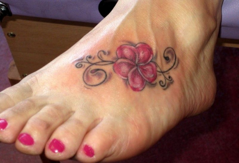Tender Purple Hawaiian Hibiscus Flower Tattoo On Foot Tatts