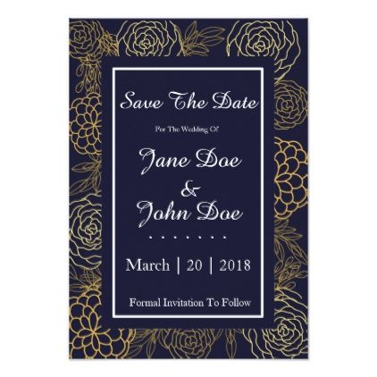 Midnight Rose Save The Dates Card Bridal showers, Engagement party - formal invitation style