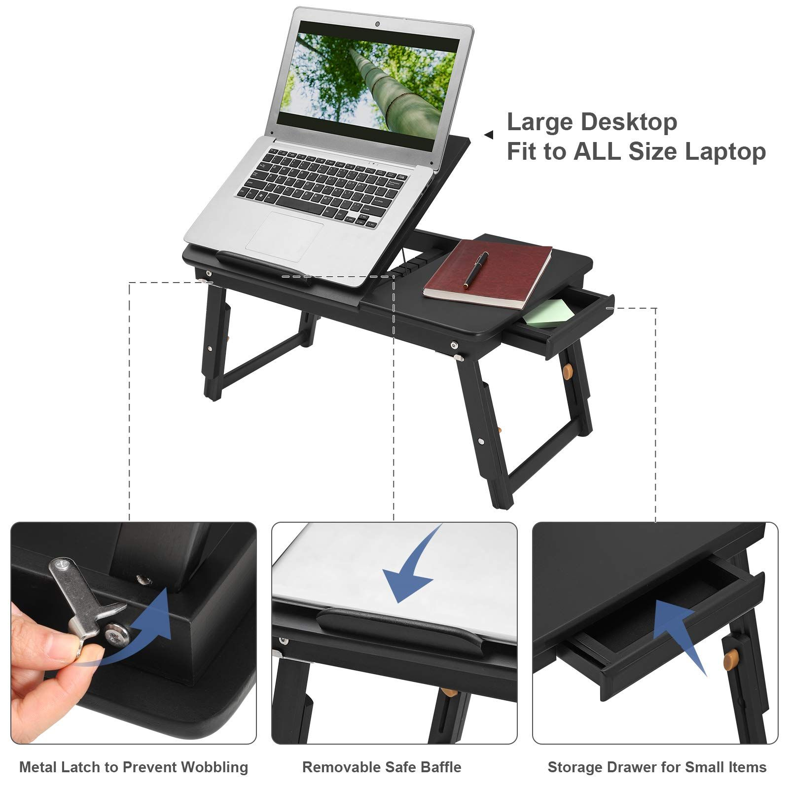 SONGMICS Laptop Desk for Bed Sofa with