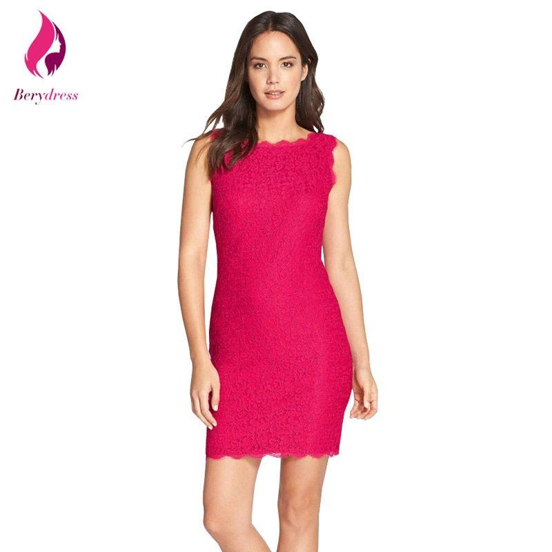 825219794e739 Vintage Short Cocktail Bodycon Party Dress Elegant Women Robe De Soiree  Work Office Hot Pink Lace Dresses 2017 Vestido De Festa Price  19.72   FREE  Shipping ...