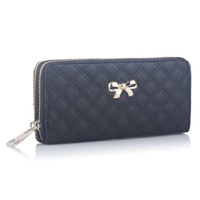 Zipper Xiniu Popular Bow Female Purse Fashion Synthetic Leather Women Double Pull Wallet Credit Card Clutch Carteira Feminina