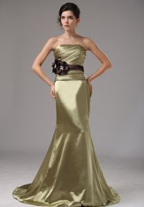 Olive Green Strapless Mermaid Brush Train Celebrity Dress with Belt and Flowers