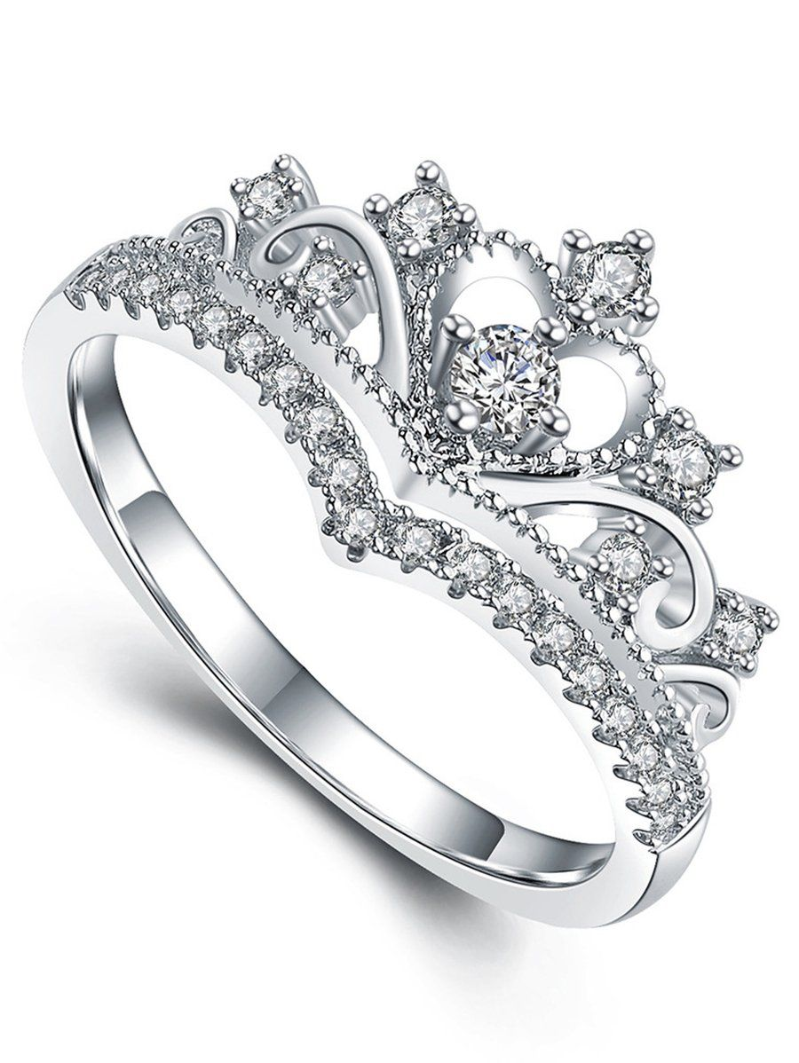 Adrianna Cute Crystal Princess Crown Promise Fashion Ring In