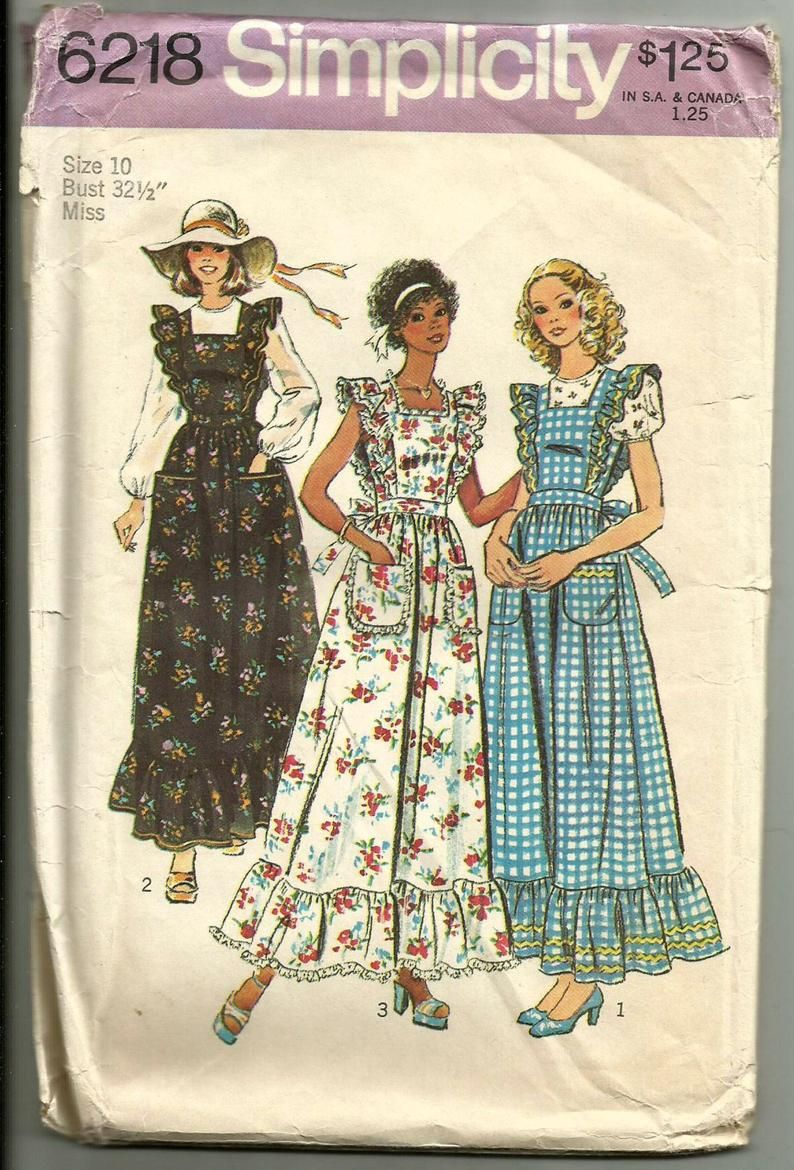 Vintage 70s Simplicity 6218 Uncut Misses Ruffled Pinafore Like Jumper Or Apron And Blouse Sewing Pattern Size 10 Bust 32 5 Vintage Dress 70s Vintage Patterns Pinafore Sewing Pattern [ 1170 x 794 Pixel ]