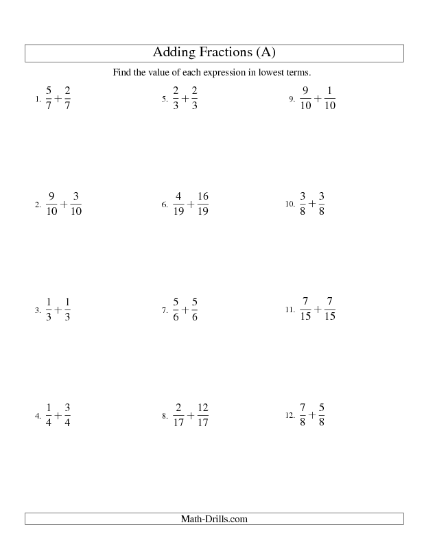 Fractions Worksheet -- Adding Proper Fractions with Like ...
