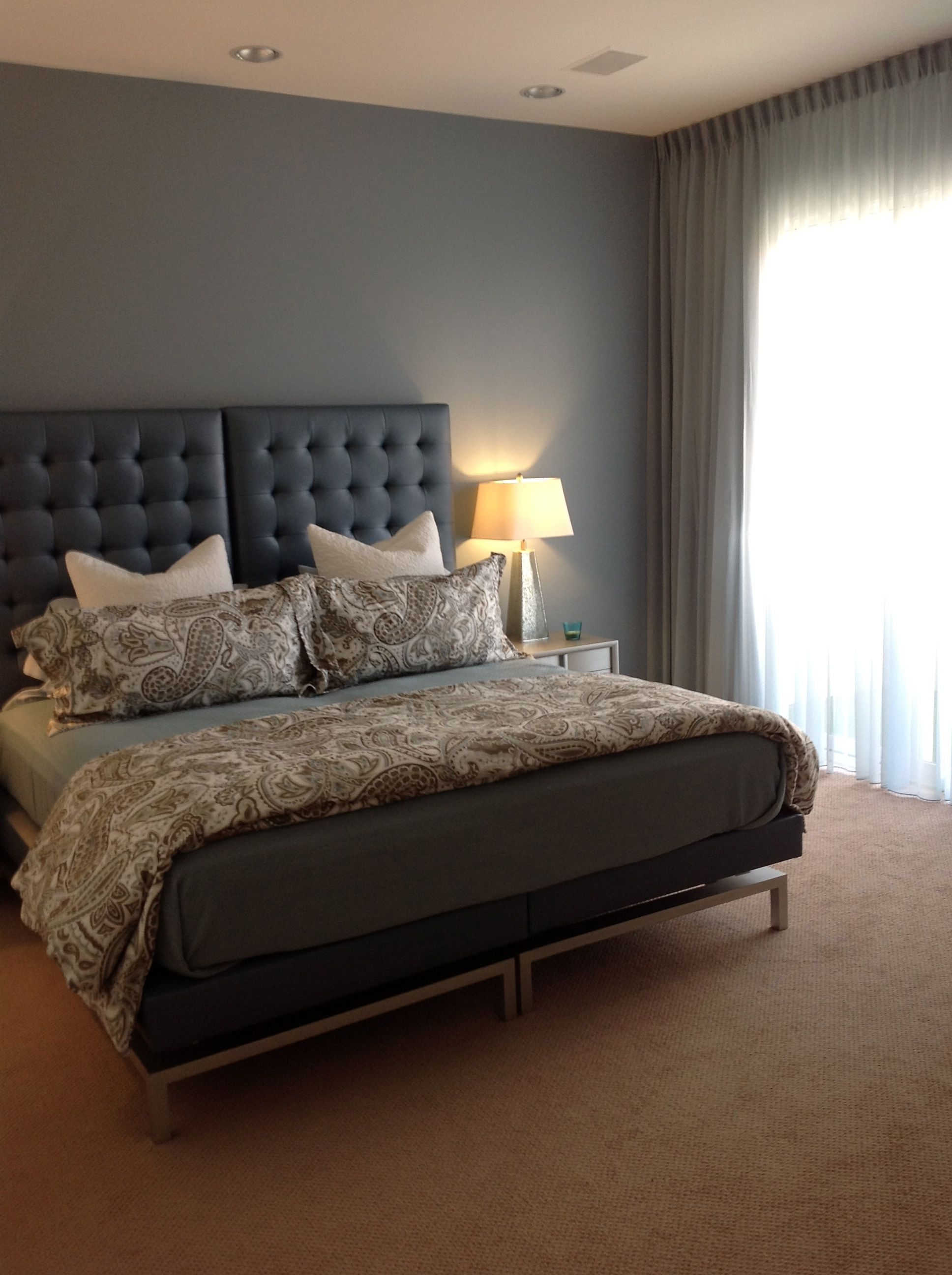 The blue guest room, I designed the custom King bed with