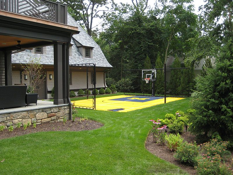 Purple Flowers With Michigan Basketball Court Backyard