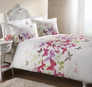 pink, green, purple comforter | ... Butterflies Pink Purple Green Duvet Cover Quilt Bedding Set | eBay