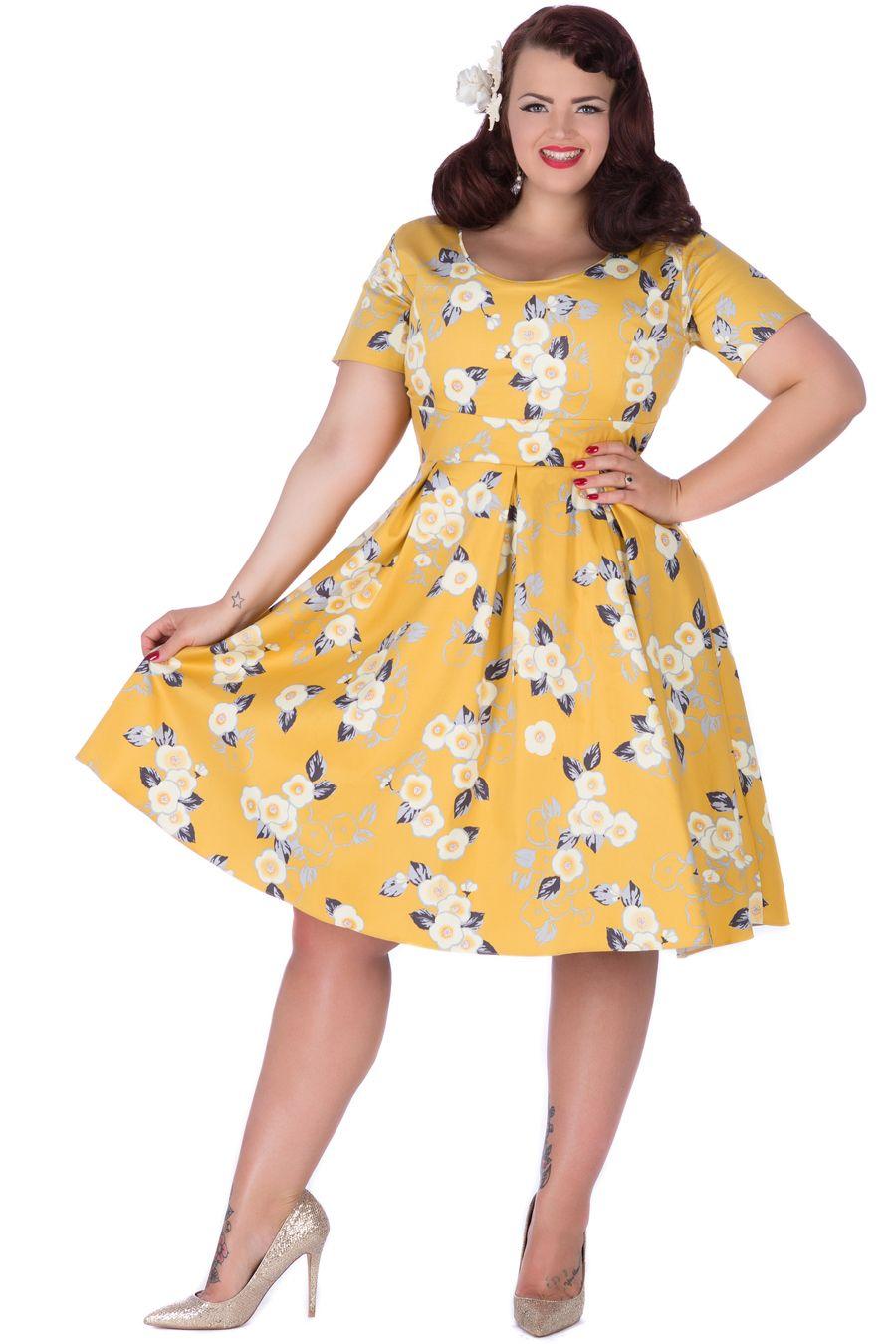 Yellow floral phoebe dress vintage style dresses for Plus size rockabilly wedding dresses
