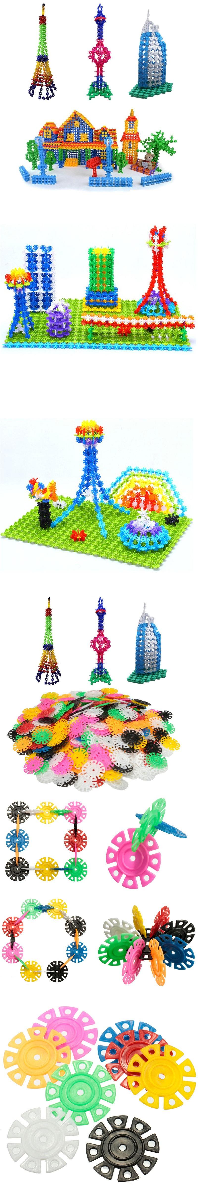 Brand New 400 pcs Multicolor Kids Snowflake Building Puzzle Blocks