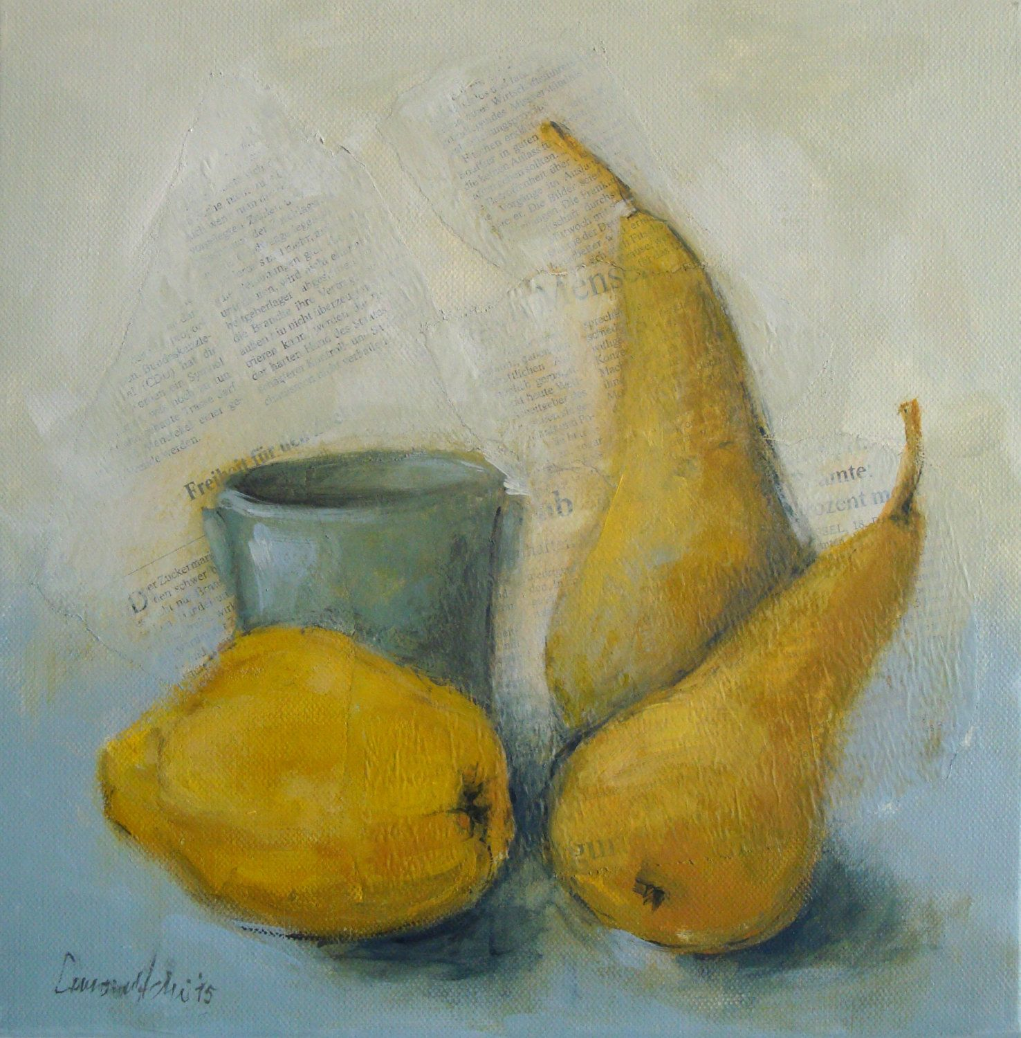 Original Fruit Still Life Acrylic Painting on Stretched Canvas ...