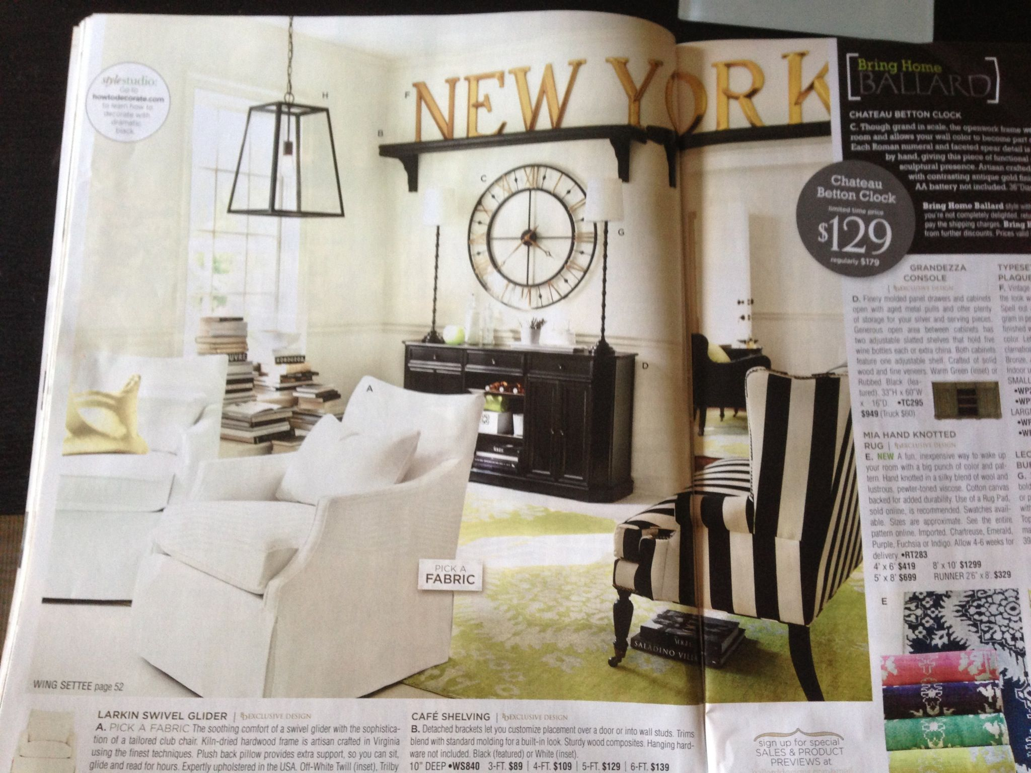 Ballard designs black and white living room