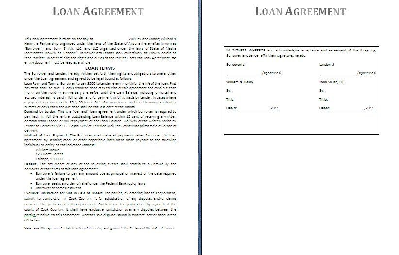 Printable Sample Loan Agreement Form | Real Estate Forms | Pinterest ...