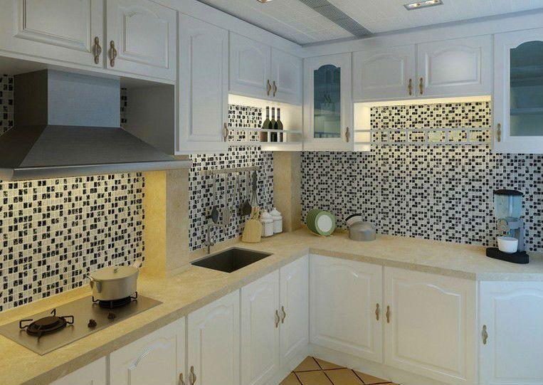 Ice Crack Glass Tiles for Kitchen Backsplash Black & White Mix ...