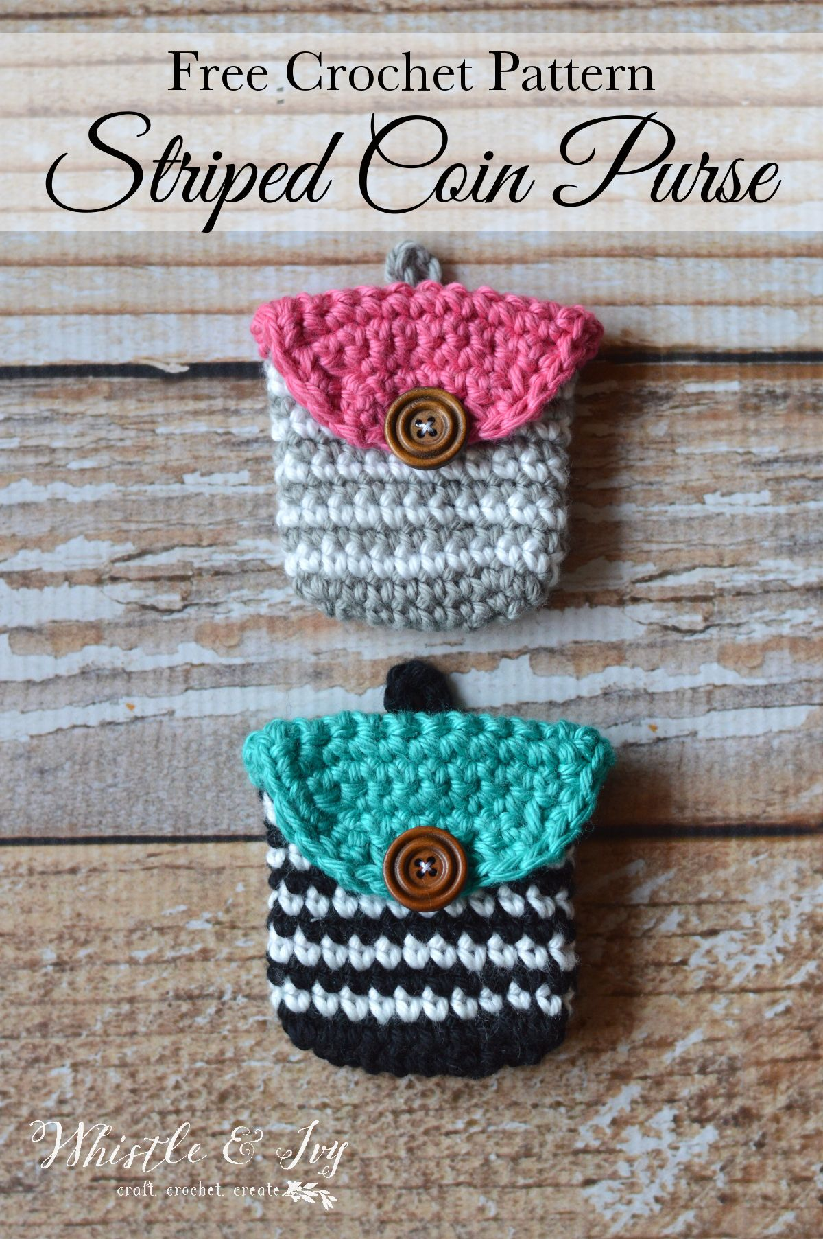 Crochet Striped Coin Purse | Pinterest | Key rings, Coins and Free ...