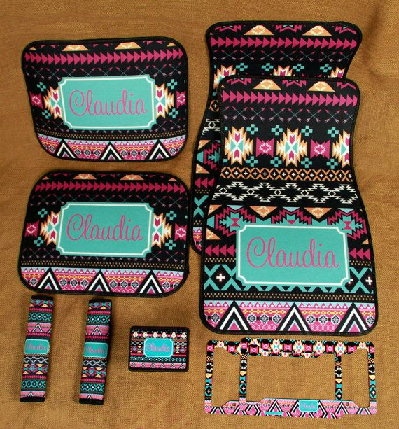 Car Mats Monogrammed Gifts Aztec Tribal Personalized